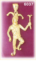 14K Gold Jester Clown Charm