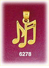 14k gold eighth and sixteenth music notes charm