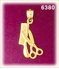 14k gold 3d hair cutting scissors and comb charm