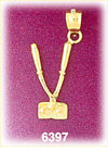14k gold 3d barber's hand clippers charm