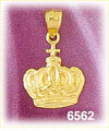 14k gold crown and cross charm