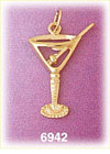 14K Gold 3D Martini Glass Charm