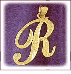 14kt Gold Script Initial Pendant