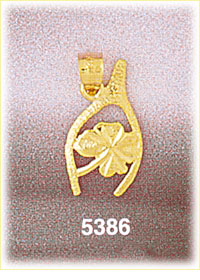 Buy good luck charms - 14K Yellow Gold Irish Wishbone And Four Leaf Clover Good Luck Charm