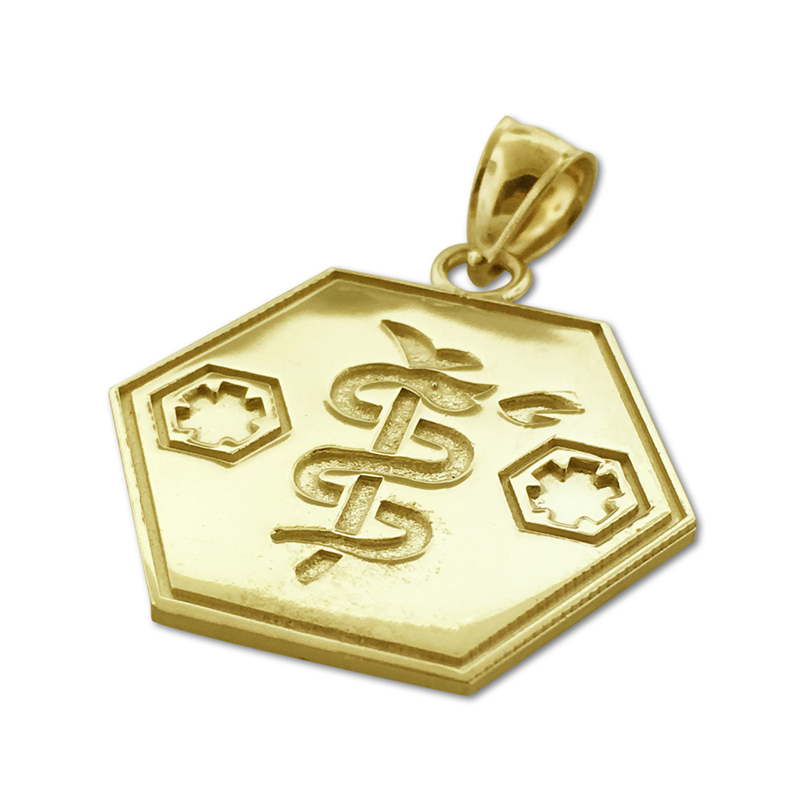 14k gold star of life with rod of asclepius charm pendant aloadofball Image collections