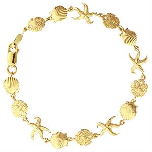 14k gold sea shell, starfish & sand dollar bracelet