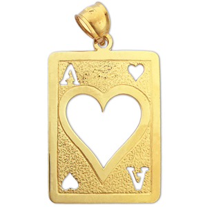 14k gold cutout ace of hearts charm pendant