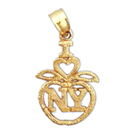 14k gold i love new york big apple charm