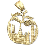 14k gold new york cityscape big apple charm pendant