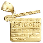 14k gold hollywood clapper board charm