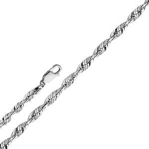 14k white gold 2.5mm solid diamond cut rope chain