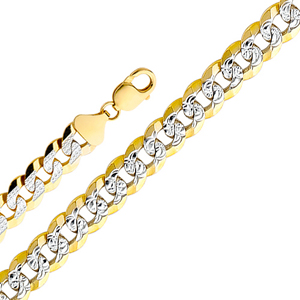 14k gold 6mm white pave cuban chain