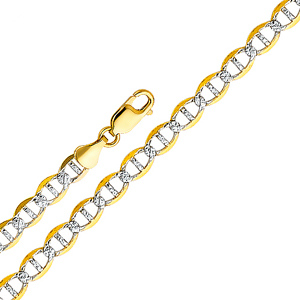 14k gold 3.4mm white pave flat mariner chain