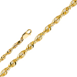 14k gold 3mm solid diamond cut rope chain