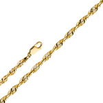 14k gold 2.5mm solid diamond cut rope chain