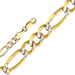14k gold 6mm white pave figaro chain