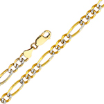 14k gold 3.1mm white pave figaro chain