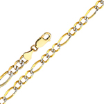 14k gold 2.7mm white pave figaro chain
