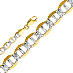 14k gold 6.5mm white pave flat mariner chain