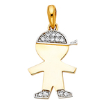 14k two tone gold cz boy charm