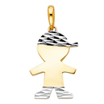 14k two tone gold baby boy charm