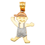 14k tri color gold boy charm