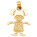 14kt gold it's a girl baby charm