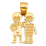 14k gold two boys with ball charm