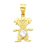 14k gold cz april birthstone girl charm