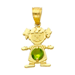 14k gold cz august birthstone girl charm