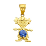 14k gold cz december birthstone girl charm