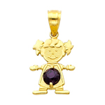 14k gold cz february birthstone girl charm