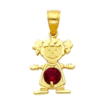 14k gold cz january birthstone girl charm