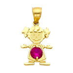14k gold cz july birthstone girl charm