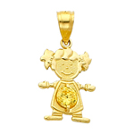 14k gold cz november birthstone girl charm