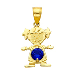 14k gold cz september birthstone girl charm