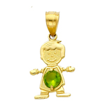 14k gold cz august birthstone boy charm