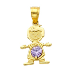 14k gold cz june birthstone boy charm