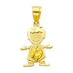 14k gold cz november birthstone boy charm