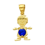 14k gold cz september birthstone boy charm