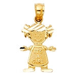 14k gold it's a girl baby charm