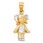 14kt two tone gold girl charm