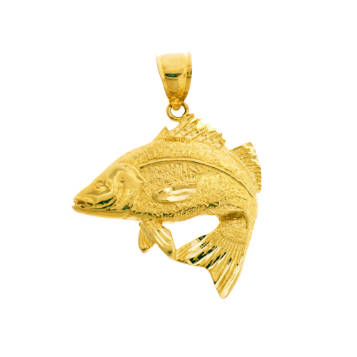 14k gold exquisite fish pendant for Gold fish pendant
