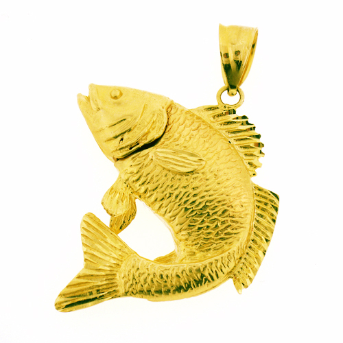 14k gold 3d carp fish pendant for Gold fish pendant