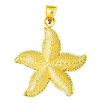 14k gold starfish sea life pendant