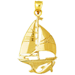 14k gold sailboat with dolphin swimming pendant