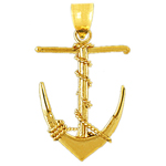 14kt gold 3d ship anchor with sailor rope pendant