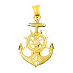 14 kt gold ship wheel and anchor pendant