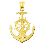 14k gold 42mm ship wheel and anchor pendant