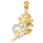 14k two tone gold rose in heart pendant